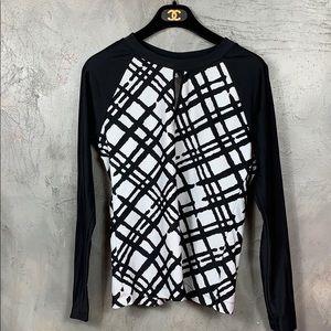 La Blanca black and white printed swim top